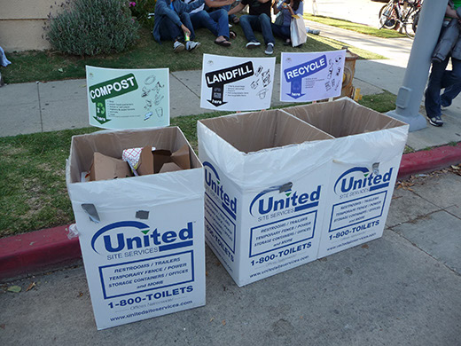 Trash setup at the Silverlake Jubilee