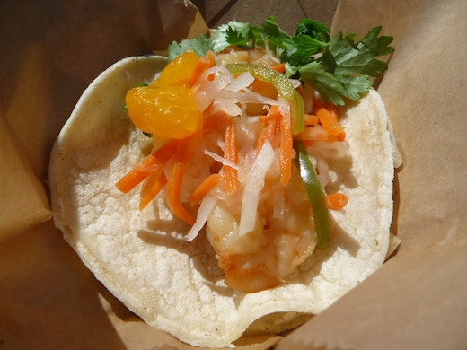 Drunken shrimp taco from the Shrimp Pimp