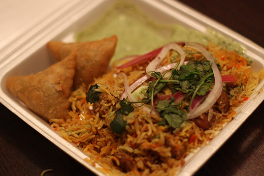 Biryani and samosas from the No Tomatoes truck