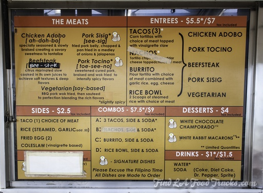 White Rabbit LA Food Truck Menu