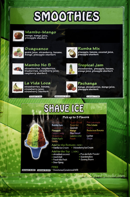 Mambo Juice LA Food Truck Menu
