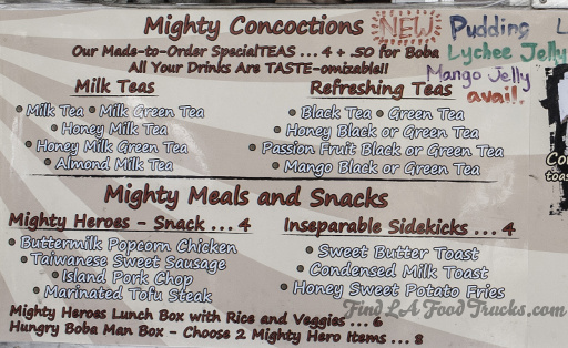 Mighty Boba LA Food Truck Menu