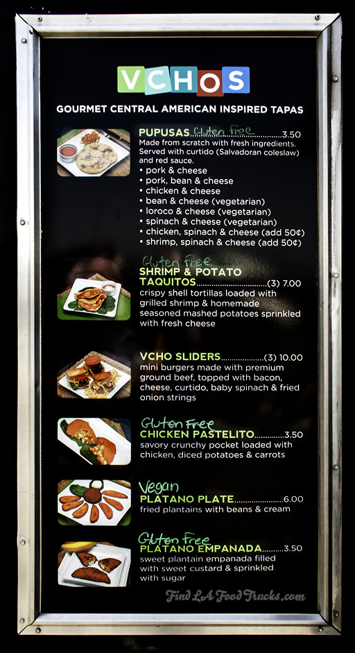 Vchos LA Food Truck Menu