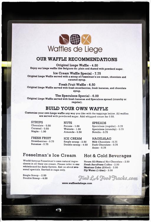 Waffles de Liege LA Food Truck Menu