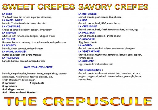 Crepuscule LA food truck Menu