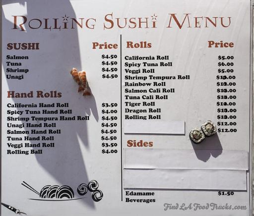 Rolling Sushi Van LA Food Truck Menu